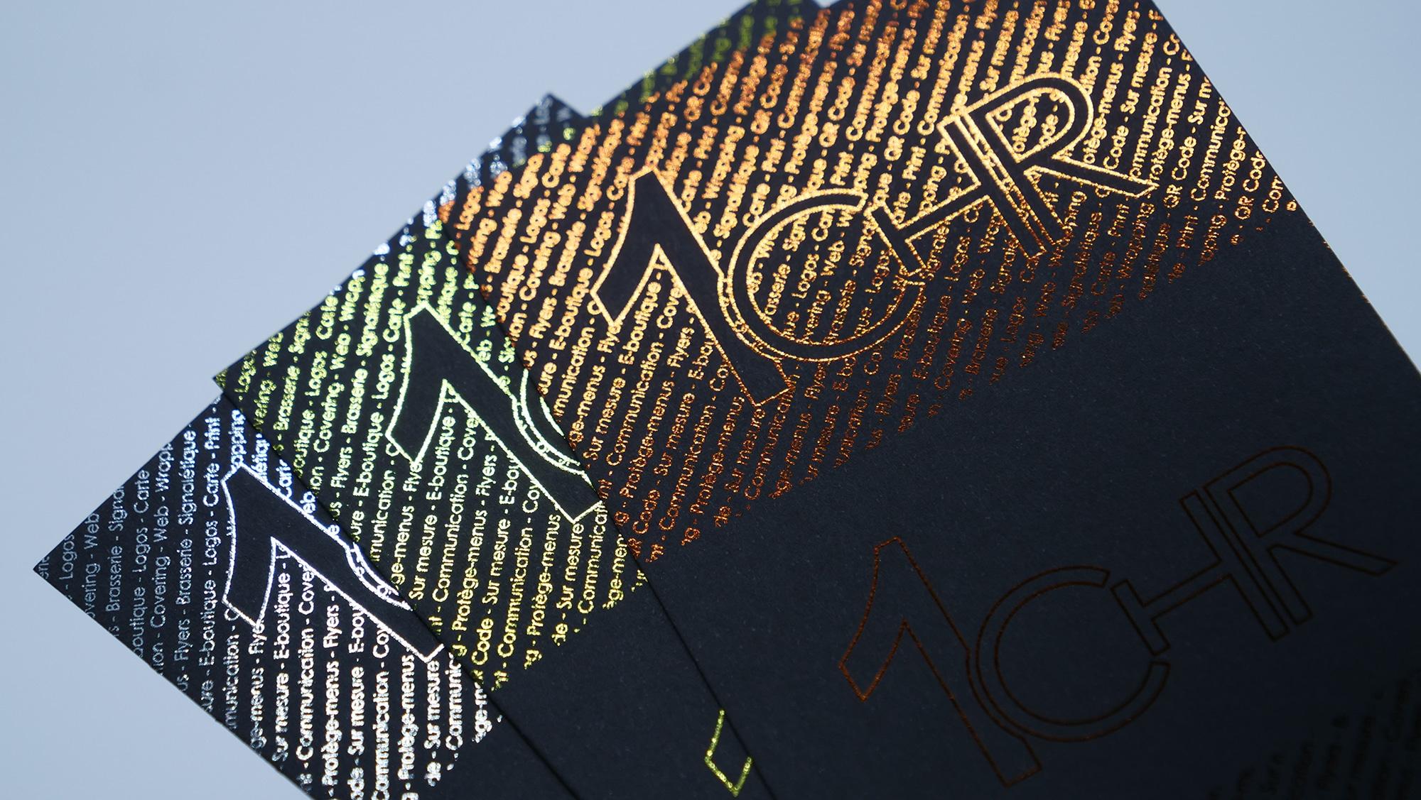 Cartes De Visite En Dorure Sur Papier Noir