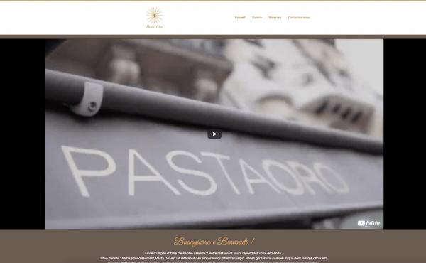 page accueil site internet pasta oro