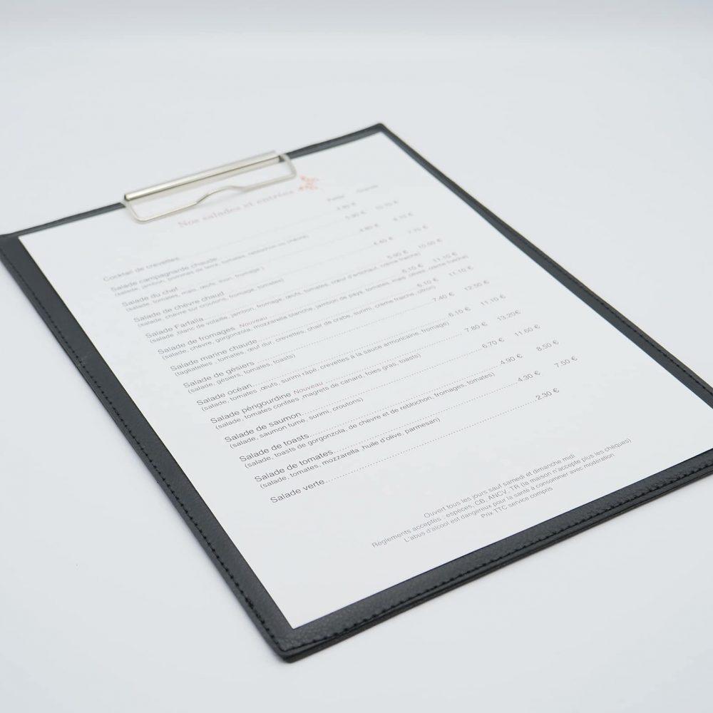 Support protège menu restaurant à pince A4 personnalisé