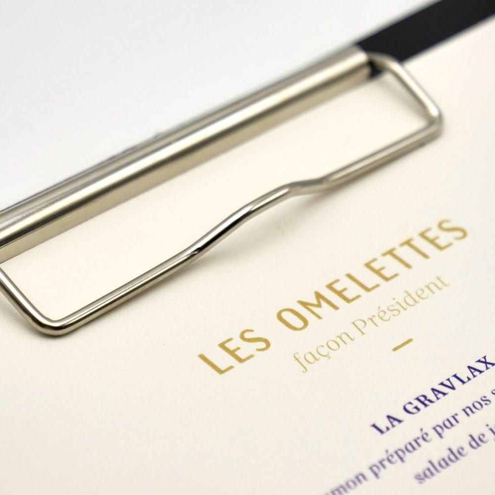 Support protege menu restaurant à pince personnalisé