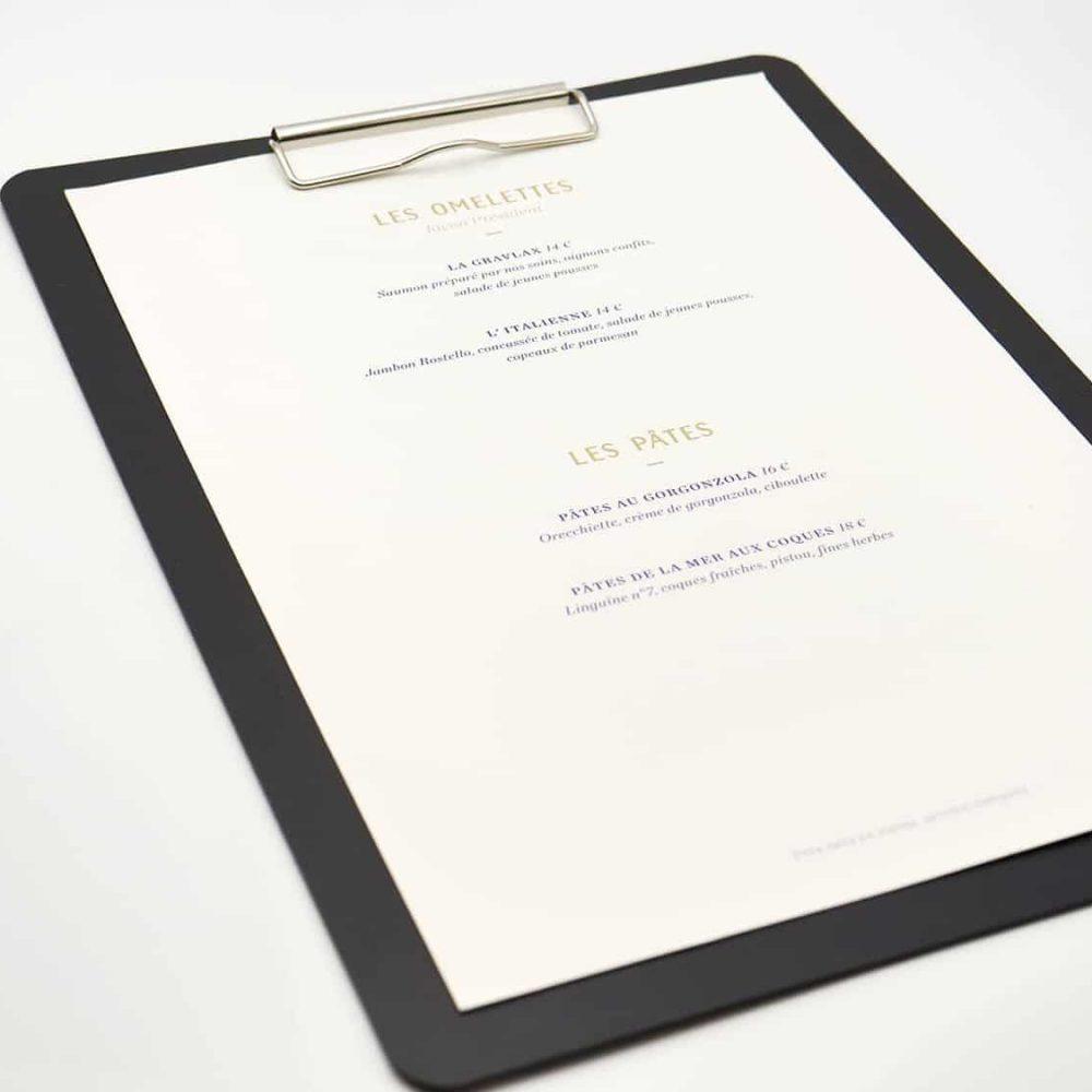 Support protege menu restaurant à pince standard