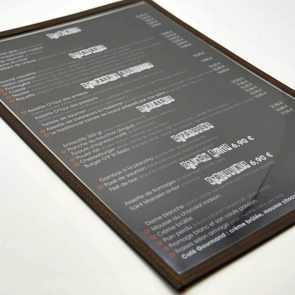 Support protege menu restaurant neutre standard