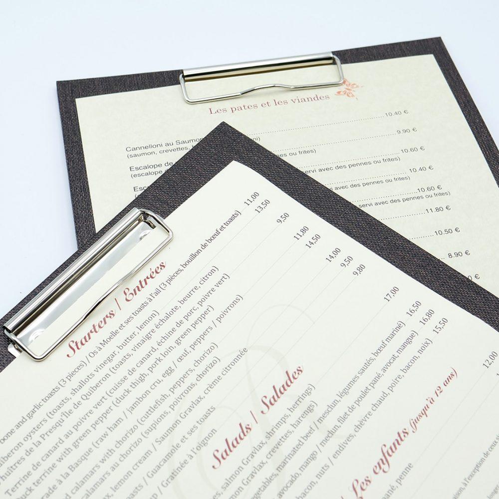 portes menu pince carre et a4 pour restaurant