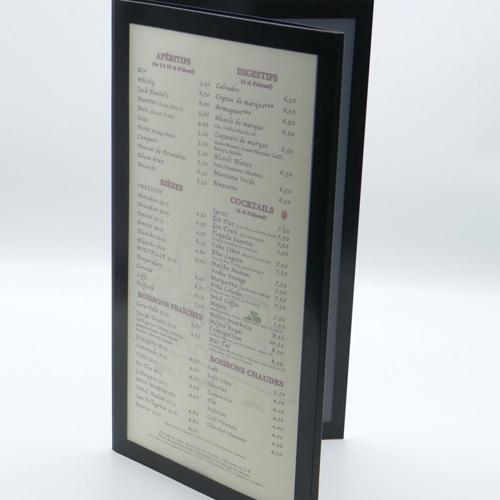 Protège Menu restaurant Neutre Rectangle 2 Volets