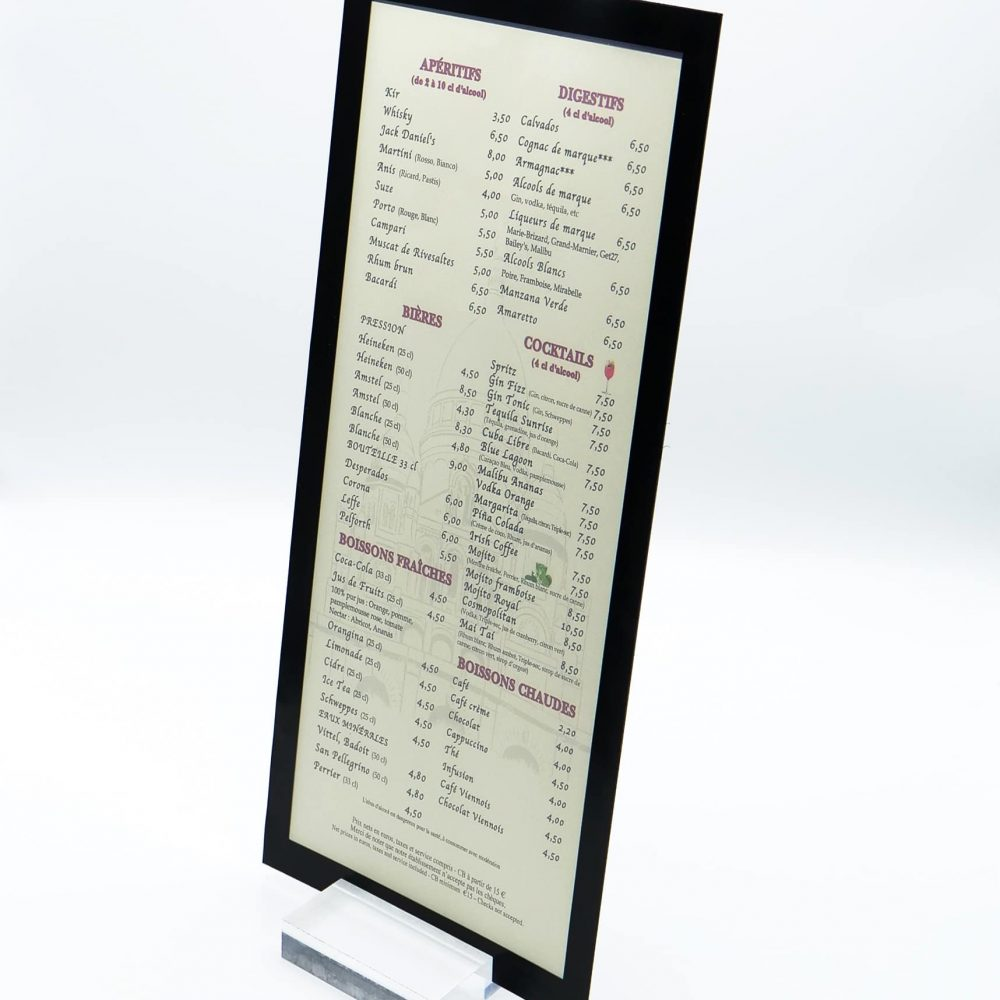 protège-menu rectangle recto verso